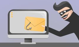 Fondo phishing di concetto del email, stile del fumetto royalty illustrazione gratis