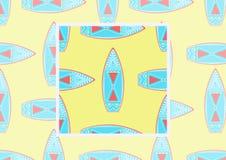 Fondo piano con i surf su colore giallo Vector il modello senza cuciture con l'esempio come utilizzare nella progettazione ed in  Fotografia Stock