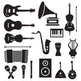Fondo piano dei pittogrammi delle icone degli strumenti di musica royalty illustrazione gratis