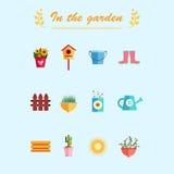 Fondo piano del blu dell'illustrazione delle icone del giardino Fotografia Stock