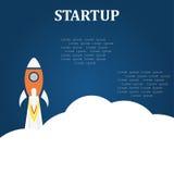 Fondo piano del blu di progettazione di concetto del lancio di partenza di affari Fotografie Stock