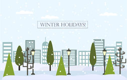 Fondo piano del paesaggio di inverno di Chrismas Cartolina d'auguri di vettore del nuovo anno Fotografia Stock