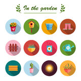 Fondo piano di bianco dell'illustrazione delle icone del giardino Fotografia Stock