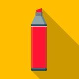 Fondo piano di giallo dell'icona della penna di indicatore di vettore Fotografia Stock Libera da Diritti