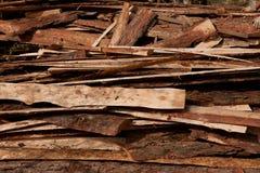Fondo Pila de tarjetas de madera Fotografía de archivo libre de regalías