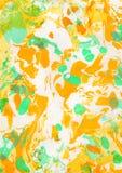 Fondo pintado a mano abstracto amarillo, verde, anaranjado Imagen de archivo libre de regalías