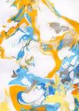 Fondo pintado a mano abstracto blanco, amarillo, anaranjado, azul y gris Imagenes de archivo