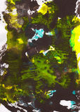 Fondo pintado a mano abstracto de Brown, amarillo y azul Fotos de archivo libres de regalías