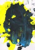 Fondo pintado a mano abstracto del amarillo, negro y azul Imagenes de archivo