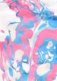 Fondo pintado a mano abstracto del azul, rosado y blanco Foto de archivo libre de regalías