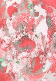 Fondo pintado a mano abstracto del rojo, verde y gris Fotos de archivo libres de regalías