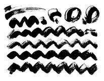 Fondo pintado a mano abstracto sucio negro Diseño del cepillo conjunto ilustración del vector