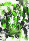 Fondo pintado a mano abstracto verde, blanco y negro Fotografía de archivo
