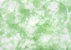 Fondo pintado a mano abstracto verde con las burbujas Imágenes de archivo libres de regalías