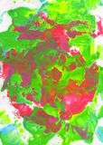 Fondo pintado a mano abstracto verde, rosado, rojo y azul Fotografía de archivo libre de regalías