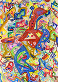 Fondo pintado a mano colorido abstracto Imágenes de archivo libres de regalías