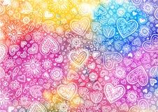 Fondo pintado a mano de la acuarela con los corazones ilustración del vector