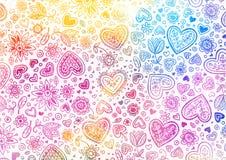 Fondo pintado a mano de la acuarela con los corazones stock de ilustración