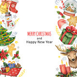 Fondo pintado a mano de la acuarela con los elementos por Feliz Navidad y Feliz Año Nuevo Fotografía de archivo