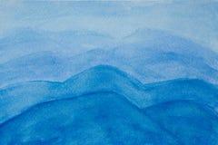 Fondo pintado a mano de la acuarela de la montaña del cielo azul del extracto ilustración del vector