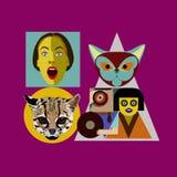 Fondo plano abstracto del estilo gente-gato-carmesí Foto de archivo libre de regalías