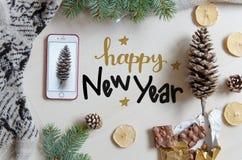 Fondo plano de la endecha de la Navidad y del Año Nuevo con el saludo de las letras de la mano Imágenes de archivo libres de regalías