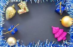 Fondo plano de la foto de la endecha de la Navidad o del Año Nuevo con el árbol de abeto rosado Fotografía de archivo