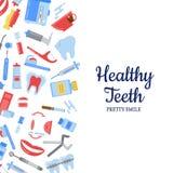 Fondo plano de la higiene de los dientes del estilo del vector ilustración del vector