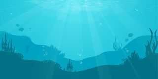 Fondo plano de la historieta subacuática con la silueta de los pescados, alga marina, coral Vida marina del océano, diseño lindo libre illustration