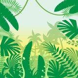 Fondo plano de la selva stock de ilustración