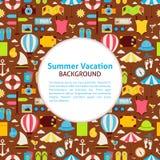 Fondo plano de las vacaciones de verano del modelo del vector Fotos de archivo