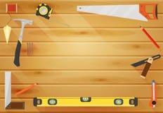 Fondo plano de Tools del carpintero Imagen de archivo libre de regalías