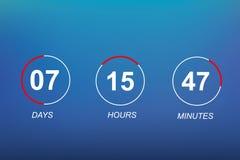 Fondo plano del contador de tiempo del reloj digital de la plantilla del vector del sitio web de la cuenta descendiente para veni Imágenes de archivo libres de regalías