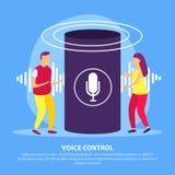 Fondo plano del control de la voz ilustración del vector