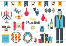 Fondo plano del ejemplo del día feliz de Jánuca Elementos de los iconos para el día de fiesta de Jánuca Tradicional judío del obj