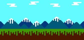 Fondo plano del juego con las montañas Fotografía de archivo libre de regalías