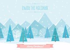 Fondo plano del paisaje del invierno hermoso de Chrismas Bosque del bosque de la Navidad con las montañas Saludo del vector del A Fotografía de archivo