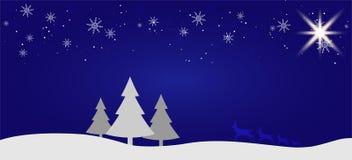 Fondo plano del paisaje del invierno hermoso de la Navidad Bosque del bosque de la Navidad con las montañas Saludo del vector del stock de ilustración