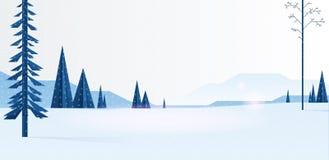 Fondo plano del paisaje del invierno hermoso de la Navidad Bosque del bosque de la Navidad con las montañas Vector del invierno d libre illustration