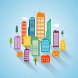 Fondo plano del paisaje urbano del diseño del edificio