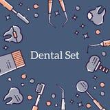Fondo plano del vector para la tarjeta de los instrumentos médicos del dentista y de dientes Diseño linear para una postal en el  stock de ilustración