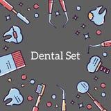 Fondo plano del vector para la tarjeta de los instrumentos médicos del dentista y de dientes Diseño linear para una postal en el  libre illustration