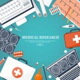 Fondo plano médico Atención sanitaria, primeros auxilios, investigación, cardiología Medicina, estudio Ingeniería química, farmac libre illustration