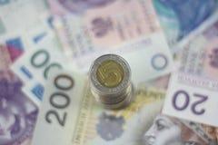 Fondo polacco di zloty di valuta Fotografia Stock Libera da Diritti