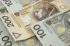Fondo polaco de los billetes de banco del zloty Imágenes de archivo libres de regalías