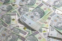Fondo polaco del dinero Fotografía de archivo
