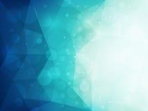 Fondo poligonal azul abstracto con la luz y el efecto del bokeh Imagen de archivo