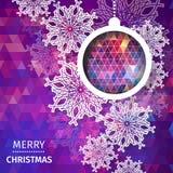 Fondo poligonal de la Feliz Navidad con los copos de nieve, Foto de archivo