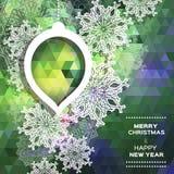 Fondo poligonal de la Feliz Navidad con los copos de nieve Foto de archivo libre de regalías