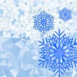 Fondo poligonal de los copos de nieve Foto de archivo